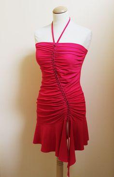 Mini bodycon red draped dress, party, dance dress, evening, latin dress