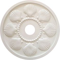 Seashell Ceiling Medallion. Ceiling Rose in Seashell Design Cast in Lightweight Resin From Marie's Hand Carved Original. Primed and Ready for Paint to Coordinate with Your Rooms Color Scheme. Marie Ricci http://smile.amazon.com/dp/B00KY4GSNA/ref=cm_sw_r_pi_dp_LcAJwb1VM5Z9K