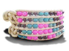 Cuff Bracelet in White, Blue & Pink