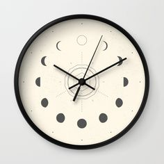 Moon Phases Light Wall Clock https://society6.com/product/moon-phases-light-ibe_wall-clock?curator=christinebssler
