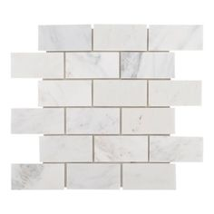 Carrara White Brick Marble Mosaic - 12in. x 12in. - 931100241 | Floor and Decor