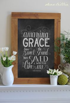 DIY:: Amazing Grace Wall Art ! by Dear Lillie (It is a Free Printable she shows you how to easily turn into Wall art ! All her tutorials & Her Blog are so Beautiful