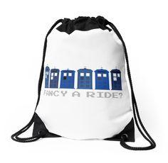 'Fancy a ride?' Drawstring Bag by nath-gary Tardis, Doctor Who, Drawstring Backpack, V Neck T Shirt, Gym Bag, Chiffon Tops, Classic T Shirts, Army, Backpacks