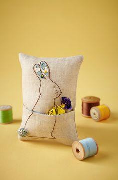 Pocket mini pillow from The Savvy Stitcher, CrossStitcher 288, February 2015