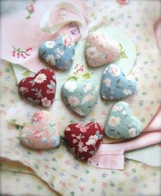 Fabric Hearts Flat Back Fabric Buttons Flower