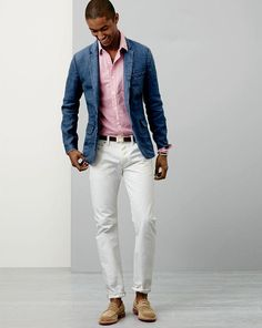 J.Crew Ludlow sportcoat in Irish linen, 484 jeans in white and the Kenton Penny Loafer