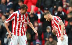 Marko Arnautovic of Stoke City (R) celebrates scoring his sides second goal with Peter Crouch of Stoke City (L) during the Premier League match between Stoke City and Middlesbrough at Bet365 Stadium on March 4, 2017 in Stoke on Trent, England.