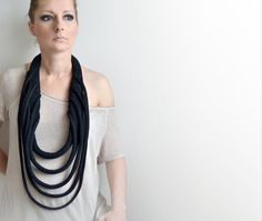 Knitted necklace knitted jewelry black knitted okapi necklaces, big  black statement necklace, fashion Paris, France