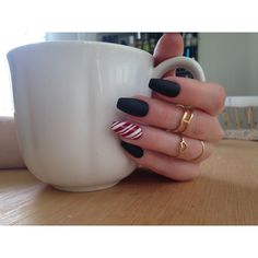 Matte Black Candy Cane Nails, 24matt black coffin nails, christmas... ($40) ❤ liked on Polyvore featuring beauty products, nail care and nail treatments