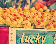 "Large Wall Art - Rubber Ducks - 16x20 - ""Lucky You"" - fine art print - rubber ducks - carnival art - vintage photography. $80.00, via Etsy."