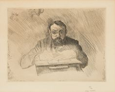 Henri Matisse  Le Cateau-Cambresis 1869 - 1954 Nizza   HENRI MATISSE GRAVANT 1900/1903    Original-Kaltnadelradierung auf chamoisfarbenem leicht genarbten Velin mit breitem Rand. 15 x 19,9 cm (30,9 x 39 cm).