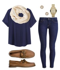 """""""CASUAL FOR FALL"""" by nithefiasco ❤ liked on Polyvore featuring Levi's, Organic by John Patrick, H&M, Sperry Top-Sider, Elizabeth Cole and Michael Kors"""