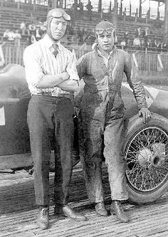 Jimmy Murphy and mechanic Ernie Olson before a race, Tacoma Speedway, 1920