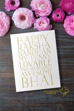 Indian Raksha Bandhan Greeting Card Printable - Funny Lovable Bhai -- Brother…