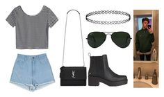 """""""Untitled #757"""" by arianas12 ❤ liked on Polyvore featuring Yves Saint Laurent, Topshop and Ray-Ban"""