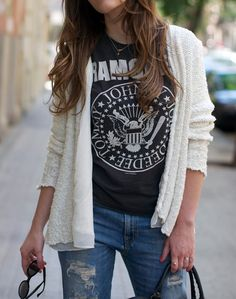 Ripped denim + casual t + sweater or jacket