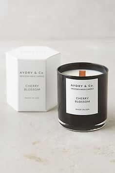 Aydry & Co. Candle by: Aydry & Co. (US) Made with a soy and coconut wax blend, this candle is infused with natural oils, imparting a lovely scent. White Tea: a soothing blend of white tea and subtle fruits (FRESH)Cherry Blossom: a lush c. Candle Logo, Candle Branding, Candle Packaging, Packaging Nets, Honey Packaging, Unique Candles, Large Candles, Luxury Candles, Ideas Candles