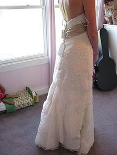 Layers and Layers of Silk Lace. The bride requested I add the champagne colored sash to the bodice for some color and emphasis. Prom Dresses, Formal Dresses, Wedding Dresses, Champagne Color, Bustle, Wedding Attire, Getting Married, Bodice, Layers