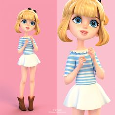 Celine & Donna - Beautiful stylized 3D characters 3D by Yinxuan. More work samples on the gallery page...