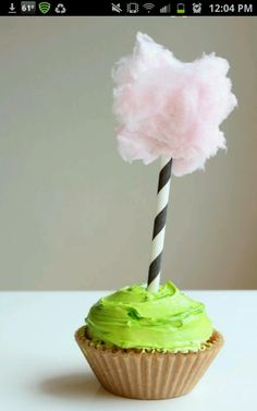 Lorax cupcakes cotton candy tree - ok Sarah-Anne, how do we do this without food dye?
