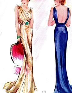 38 new ideas for fashion art illustration vintage evening gowns 1930s Fashion, Look Fashion, Retro Fashion, Fashion Art, Fashion Models, Fashion Design, Fashion Vintage, Trendy Fashion, Vintage Fashion Sketches