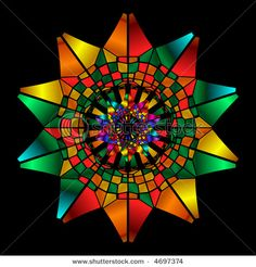 Rainbow colored stained glass kaleidoscope