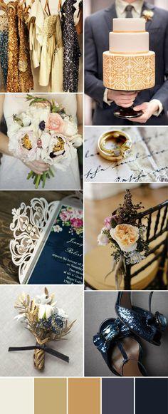 sparkle gold and navy wedding ideas