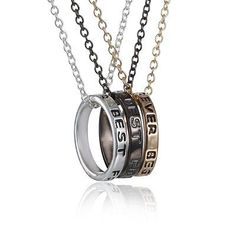 """Best Friends Forever"""" word on both of the Rings. All hang from a link chain. - Gold Chain, Silver chain, Gray chain : 16 """" long each or - Nickel and Lead Free / Lead Compliant. These pendant necklaces are the next best thing. Bff Necklaces, Best Friend Necklaces, Best Friend Jewelry, Best Friends Forever, Bff Rings, Best Friend Rings, Necklace Packaging, Friendship Necklaces, Ring Necklace"""