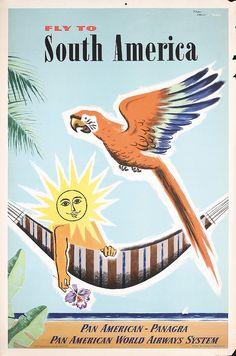 Pan Am - fly to South America - 1952 - illustration : Jean Carlu -