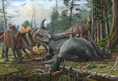 Rubeosaurus+and+young+Hypacrosaurus+by+atrox1.deviantart.com+on+@DeviantArt