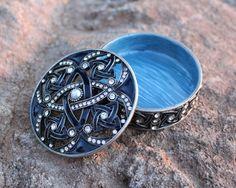 Decorative & Unique Trinket Box - Antiqued Gunmetal finish - blue enamel
