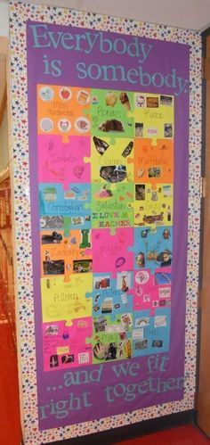 Great idea for first bulletin board of the year. Pieces can have all-about-me information and/or clipped magazine photos.
