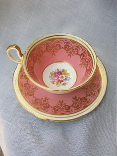 Aynsley Bone China England.PinkFloralGiltc881Tea by acollectedhome