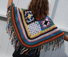 Ravelry: Scrap yarn poncho pattern by Julie Berg Chrochet, Crochet Hooks, Scrap, Blanket, Shawls, Ravelry, Pattern, How To Make, Cotton