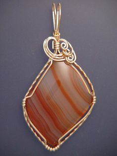 Wire Wrapped Banded Carnelian Pendant