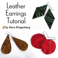 Leather Earrings - Tutorial by Rena Klingenberg-Because leather is so lightweight, it's a wonderful material for making big, bold, leather earrings! You can make them in plain, smooth leather – but it's also worthwhile to look for pieces with interesting textures or tooling.