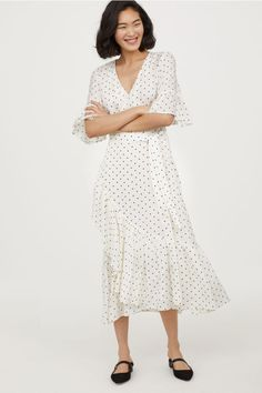 Flounced dress - White/Spotted - Ladies | H&M GB 1