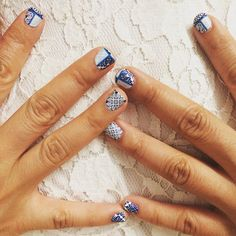 Fan wears 'Patchwork Porcelain' available at http://ift.tt/1MRv6T8 #nailart #nailwraps #appliq #nailparty