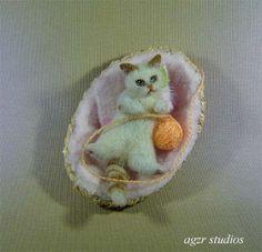 OOAK 1 12 Dollhouse Miniature Kitten Furred Realistic Handmade Cat Animal Kitty | eBay
