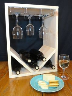 Wine Rack Stemware Wine Glass Holder Natural or Espresso Solid Wood Wine Racks, Wine Glass Holder, Countertop Wine Rack, Wine Rack Plans, Espresso, Diy Rangement, Wine Cabinets, Wine Storage, Wood Bars