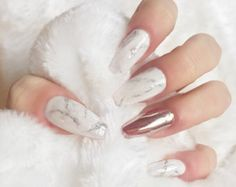 Marble press on nails rose gold chrome false nails , fake nails, nail art
