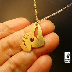 Tiny Confident SLOTH - handmade gold plated sterling silver necklace. $40.00