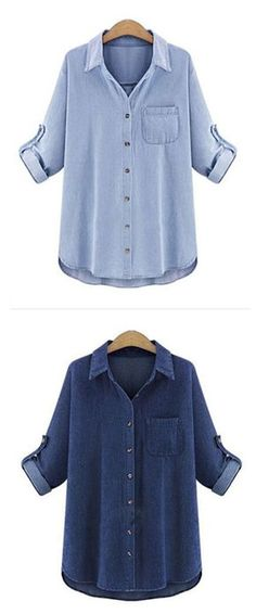 392513227 [$16.14] Women's Holiday Weekend Basic Plus Size Shirt - Solid Colored Shirt  Collar Dark Blue XXXL