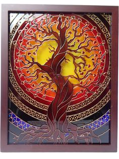 Fantasy tree This is a symbol of love, life and family. The tree has strong roots, it is full of love... Give some love to your home. I used different techniques to make this painting juicy. I use high quality glass paints that do not fade. The frame has two transparent glass sheets. 12x