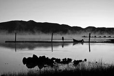 Lone Fisherman by Michelle Myers ~ Getting the boat out early at Crane Prairie Reservoir, Oregon
