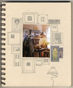 Thinking of doing something like this for Sketchbook Project 2014. My photos surrounded by sketches, painting, etc.