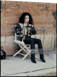 American singer La Toya Jackson during the filming of the video for her single 'You're Gonna Get Rocked!', 1988.