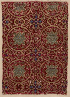 Spain, Islamic period, 14th century, diasper weave; silk and gold, Average: 33.00 x 22.90 cm (12 15/16 x 9 inches). Purchase from the J. H. Wade Fund 1939.42