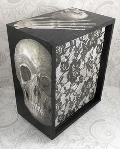 Black and Gray - Skull and Lace - Anatomy Stash Jewelry Box  Four drawer decoupaged jewelry box.  Box is 7 1/4 inches tall, 6 inches wide, and 3