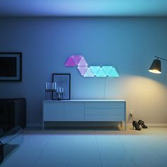 The best wall lights and wall lamps for sale online. Modern wall mounted lights for the bedroom, cordless wall sconces, industrial style task lighting, and much more! Lighted Wall Mirror, Led Wall Lamp, Wall Lights, Aurora Led Lights, Nanoleaf Designs, Nanoleaf Aurora, Exterior Design, Interior And Exterior, Nanoleaf Lights